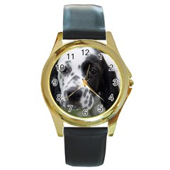 English Setter Round Gold Metal Watch