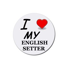 Eng Setter Love Rubber Coaster (Round)