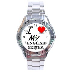 Eng Setter Love Stainless Steel Analogue Watch