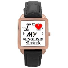Eng Setter Love Rose Gold Leather Watch