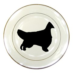 English Setter Silo Black Porcelain Plates
