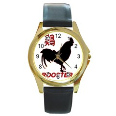 Year of the Rooster - Chinese New Year Round Gold Metal Watch