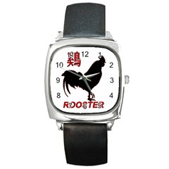Year of the Rooster - Chinese New Year Square Metal Watch
