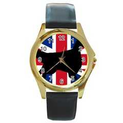 English Setter Silhouette United Kingdom Round Gold Metal Watch
