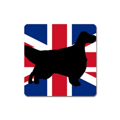 English Setter Silhouette United Kingdom Square Magnet