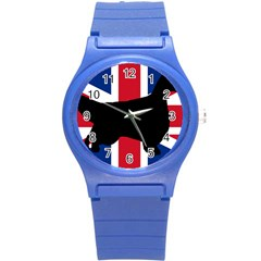 English Setter Silhouette United Kingdom Round Plastic Sport Watch (S)