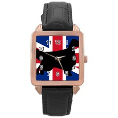 English Setter Silhouette United Kingdom Rose Gold Leather Watch