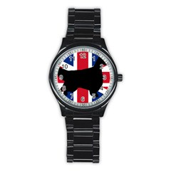 English Setter Silhouette United Kingdom Stainless Steel Round Watch