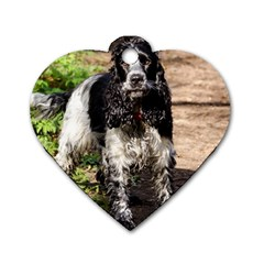 Black Roan English Cocker Spaniel Dog Tag Heart (Two Sides)