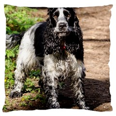 Black Roan English Cocker Spaniel Large Cushion Case (One Side)