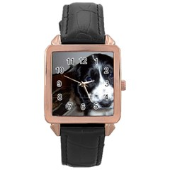 Black Roan English Cocker Spaniel Puppy Rose Gold Leather Watch