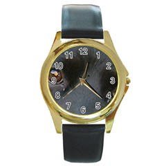 Cocker Spaniel Black Eyes Round Gold Metal Watch