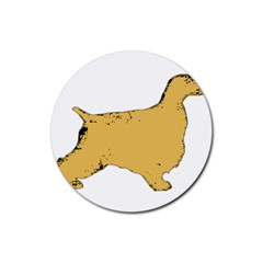 English Cocker Spaniel Silo Color Rubber Coaster (Round)