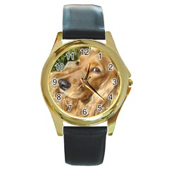 Red Cocker Spaniel Red Round Gold Metal Watch