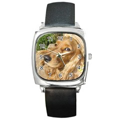 Red Cocker Spaniel Red Square Metal Watch