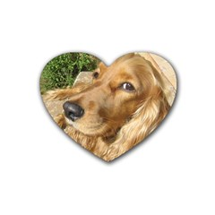 Red Cocker Spaniel Red Rubber Coaster (Heart)