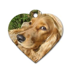 Red Cocker Spaniel Red Dog Tag Heart (One Side)
