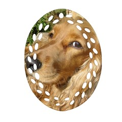 Red Cocker Spaniel Red Oval Filigree Ornament (Two Sides)