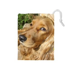 Red Cocker Spaniel Red Drawstring Pouches (Medium)