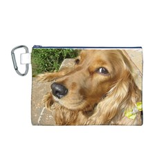Red Cocker Spaniel Red Canvas Cosmetic Bag (M)