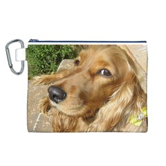 Red Cocker Spaniel Red Canvas Cosmetic Bag (L)