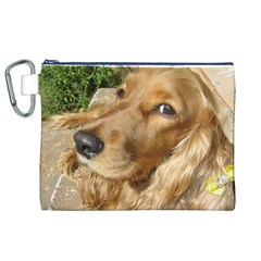 Red Cocker Spaniel Red Canvas Cosmetic Bag (XL)
