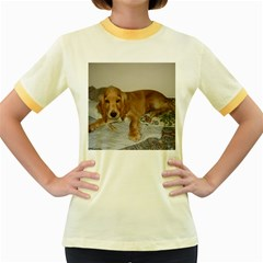 Red Cocker Spaniel Puppy Women s Fitted Ringer T-Shirts