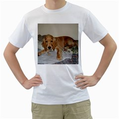 Red Cocker Spaniel Puppy Men s T-Shirt (White) (Two Sided)