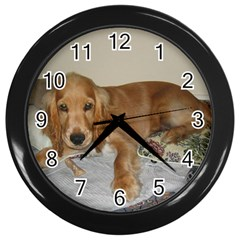 Red Cocker Spaniel Puppy Wall Clocks (Black)