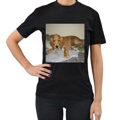 Red Cocker Spaniel Puppy Women s T-Shirt (Black) (Two Sided)