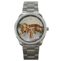 Red Cocker Spaniel Puppy Sport Metal Watch