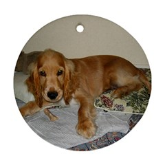 Red Cocker Spaniel Puppy Round Ornament (Two Sides)
