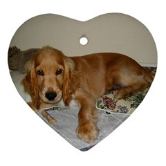 Red Cocker Spaniel Puppy Heart Ornament (Two Sides)