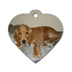 Red Cocker Spaniel Puppy Dog Tag Heart (Two Sides)