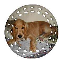 Red Cocker Spaniel Puppy Round Filigree Ornament (Two Sides)
