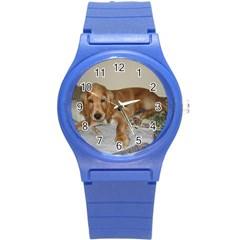 Red Cocker Spaniel Puppy Round Plastic Sport Watch (S)