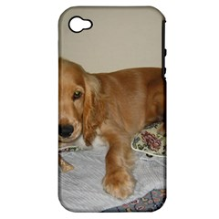 Red Cocker Spaniel Puppy Apple iPhone 4/4S Hardshell Case (PC+Silicone)