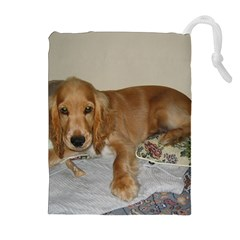 Red Cocker Spaniel Puppy Drawstring Pouches (Extra Large)