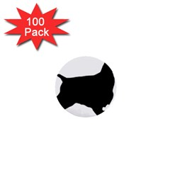 English Cocker Spaniel Silo Black 1  Mini Buttons (100 pack)