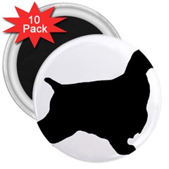 English Cocker Spaniel Silo Black 3  Magnets (10 pack)