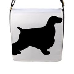 English Cocker Spaniel Silo Black Flap Messenger Bag (L)