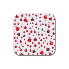 Beetle Animals Red Green Fly Rubber Square Coaster (4 Pack)