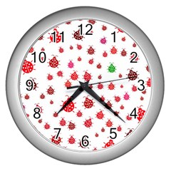 Beetle Animals Red Green Fly Wall Clocks (silver)