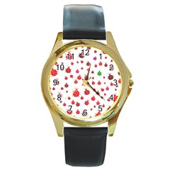 Beetle Animals Red Green Fly Round Gold Metal Watch