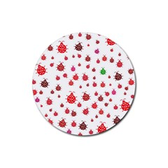 Beetle Animals Red Green Fly Rubber Round Coaster (4 Pack)