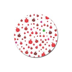 Beetle Animals Red Green Fly Magnet 3  (Round)