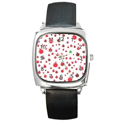 Beetle Animals Red Green Fly Square Metal Watch