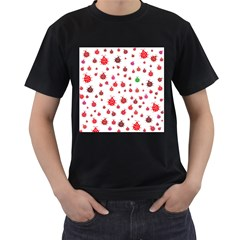 Beetle Animals Red Green Fly Men s T-Shirt (Black) (Two Sided)