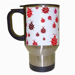 Beetle Animals Red Green Fly Travel Mugs (White)
