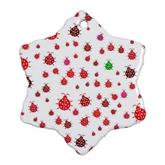 Beetle Animals Red Green Fly Snowflake Ornament (two Sides)
